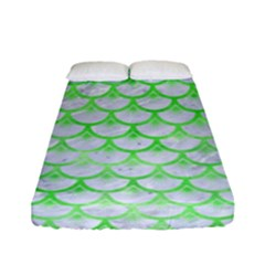Scales3 White Marble & Green Watercolor (r) Fitted Sheet (full/ Double Size) by trendistuff
