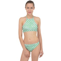 Scales3 White Marble & Green Watercolor (r) Racer Front Bikini Set by trendistuff
