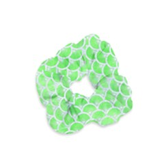 Scales3 White Marble & Green Watercolor Velvet Scrunchie by trendistuff
