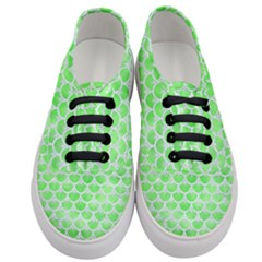 Scales3 White Marble & Green Watercolor Women s Classic Low Top Sneakers