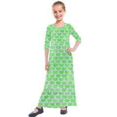 Scales3 White Marble & Green Watercolor Kids  Quarter Sleeve Maxi Dress