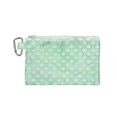 Scales2 White Marble & Green Watercolor (r) Canvas Cosmetic Bag (small)