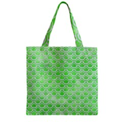 Scales2 White Marble & Green Watercolor Zipper Grocery Tote Bag by trendistuff