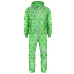 Scales2 White Marble & Green Watercolor Hooded Jumpsuit (men)