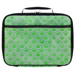 Scales2 White Marble & Green Watercolor Full Print Lunch Bag by trendistuff