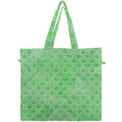 Scales2 White Marble & Green Watercolor Canvas Travel Bag by trendistuff