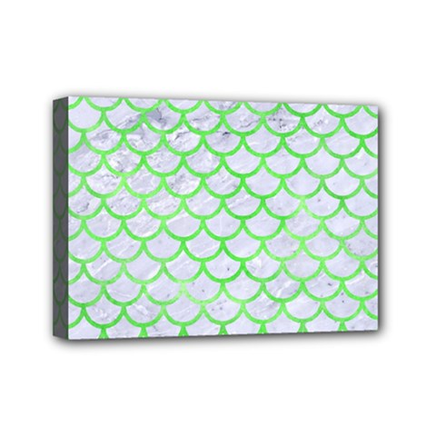 Scales1 White Marble & Green Watercolor (r) Mini Canvas 7  X 5