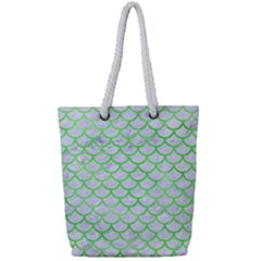 Scales1 White Marble & Green Watercolor (r) Full Print Rope Handle Tote (small) by trendistuff