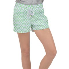 Scales1 White Marble & Green Watercolor (r) Women s Velour Lounge Shorts