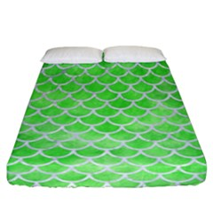 Scales1 White Marble & Green Watercolor Fitted Sheet (california King Size) by trendistuff
