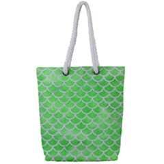 Scales1 White Marble & Green Watercolor Full Print Rope Handle Tote (small) by trendistuff