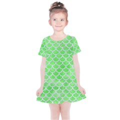 Scales1 White Marble & Green Watercolor Kids  Simple Cotton Dress