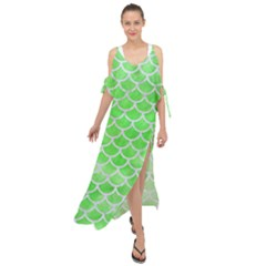 Scales1 White Marble & Green Watercolor Maxi Chiffon Cover Up Dress by trendistuff
