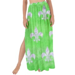 Royal1 White Marble & Green Watercolor (r) Maxi Chiffon Tie Up Sarong by trendistuff