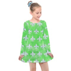 Royal1 White Marble & Green Watercolor (r) Kids  Long Sleeve Dress
