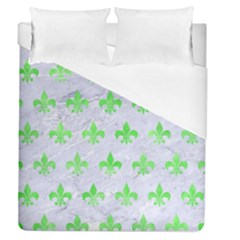 Royal1 White Marble & Green Watercolor Duvet Cover (queen Size) by trendistuff