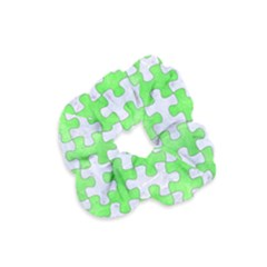 Puzzle1 White Marble & Green Watercolor Velvet Scrunchie by trendistuff