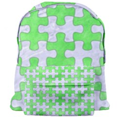 Puzzle1 White Marble & Green Watercolor Giant Full Print Backpack