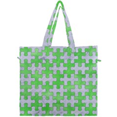 Puzzle1 White Marble & Green Watercolor Canvas Travel Bag
