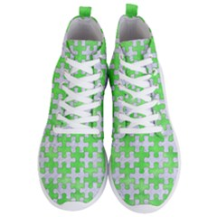 Puzzle1 White Marble & Green Watercolor Men s Lightweight High Top Sneakers