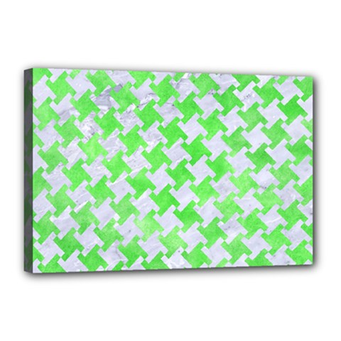 Houndstooth2 White Marble & Green Watercolor Canvas 18  X 12