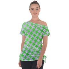 Houndstooth2 White Marble & Green Watercolor Tie Up Tee
