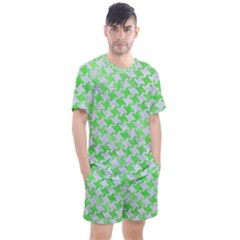 Houndstooth2 White Marble & Green Watercolor Men s Mesh Tee And Shorts Set