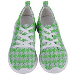 Houndstooth1 White Marble & Green Watercolor Women s Lightweight Sports Shoes