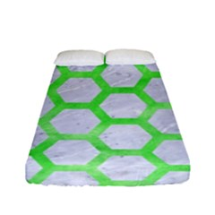 Hexagon2 White Marble & Green Watercolor (r) Fitted Sheet (full/ Double Size) by trendistuff