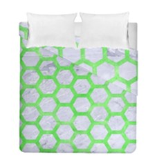 Hexagon2 White Marble & Green Watercolor (r) Duvet Cover Double Side (full/ Double Size) by trendistuff