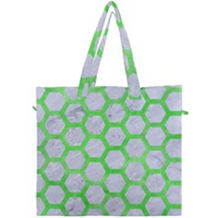 Hexagon2 White Marble & Green Watercolor (r) Canvas Travel Bag by trendistuff