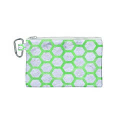 Hexagon2 White Marble & Green Watercolor (r) Canvas Cosmetic Bag (small)
