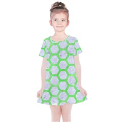 Hexagon2 White Marble & Green Watercolor (r) Kids  Simple Cotton Dress
