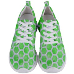 Hexagon2 White Marble & Green Watercolor Men s Lightweight Sports Shoes
