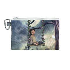 Cute Little Fairy With Kitten On A Swing Canvas Cosmetic Bag (medium) by FantasyWorld7