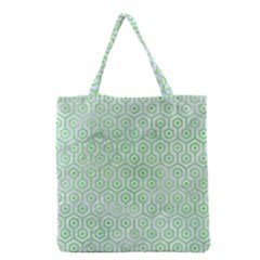Hexagon1 White Marble & Green Watercolor (r) Grocery Tote Bag by trendistuff