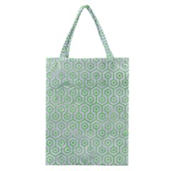 Hexagon1 White Marble & Green Watercolor (r) Classic Tote Bag by trendistuff