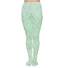 Hexagon1 White Marble & Green Watercolor (r) Women s Tights by trendistuff