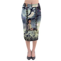 Cute Little Fairy With Kitten On A Swing Midi Pencil Skirt by FantasyWorld7