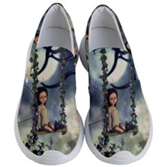 Cute Little Fairy With Kitten On A Swing Women s Lightweight Slip Ons by FantasyWorld7