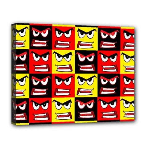Angry Face Canvas 14  X 11