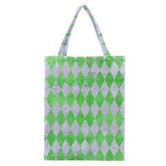 Diamond1 White Marble & Green Watercolor Classic Tote Bag by trendistuff