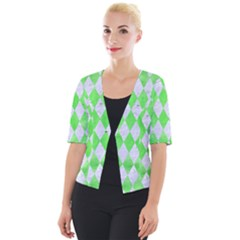 Diamond1 White Marble & Green Watercolor Cropped Button Cardigan
