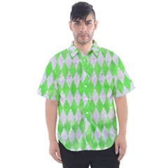 Diamond1 White Marble & Green Watercolor Men s Short Sleeve Shirt