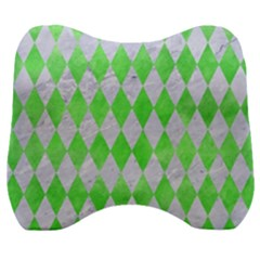 Diamond1 White Marble & Green Watercolor Velour Head Support Cushion