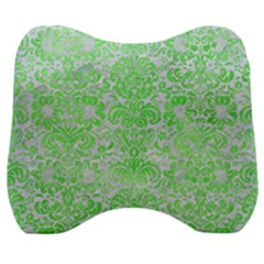 Damask2 White Marble & Green Watercolor (r) Velour Head Support Cushion by trendistuff