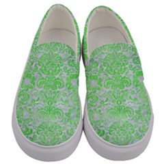 Damask2 White Marble & Green Watercolor (r) Men s Canvas Slip Ons
