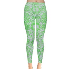 Damask2 White Marble & Green Watercolor (r) Inside Out Leggings