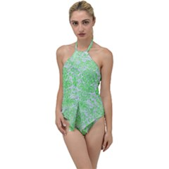 Damask2 White Marble & Green Watercolor (r) Go With The Flow One Piece Swimsuit