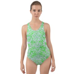 Damask2 White Marble & Green Watercolor Cut Out Back One Piece Swimsuit